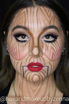 Wooden Doll Halloween Makeup.