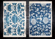 Chinese traditional ornament patterns(02-04) ,vintage,supply, Blue, Flowers,plants,grass,texture,deco, 1800s,China, by Letsfancy on Etsy