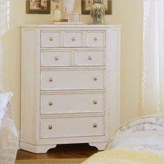 Corner dresser to save space. love! i think I've found my bedroom set! American Drew Camden White 5 Drawer Corner Chest in Antique White Finish