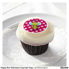 Happy Bee Valentines Cupcake Topper (Customizable)