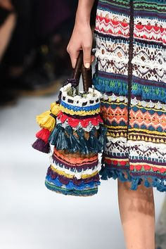 KEITA MARUYAMA, Tokyo SS 2016 - (Details) Crochet Bag....looking at the variety of stitches used on the skirt.
