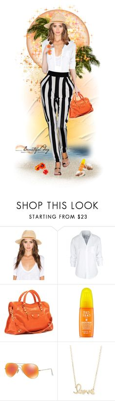 """""""Beach resort holiday"""" by jothomas ❤ liked on Polyvore featuring Hat Attack, Frank & Eileen, Balenciaga, Coven, Ray-Ban and Sydney Evan"""