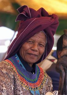 Former South African president Nelson Mandela wears a traditional Xhosa hat 11 February during a ceremony at his village of Qunu. Mandela celebrates anniversary of his release from the Robben Island jail. Nelson Mandela, African Culture, African History, African Beauty, African Fashion, African Wear, Xhosa Attire, Photo Souvenir, First Black President