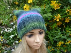 Wool Beanie Hat - Hand Knit Hat - Women Pussy Cat Hat -  Chunky Green Blue Wool Rich Cat Square Hat - Pussy Cat Ear Hat - ClickClackKnits by Clickclackknits on Etsy