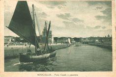 Porto-canale di Senigallia ,in una cartolina d' epoca....Marche. Italia. (dal sito : quattrobaj.com )