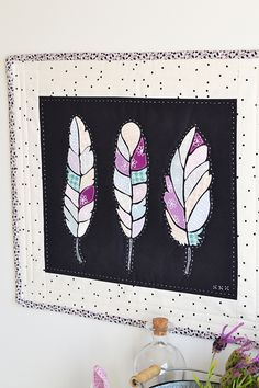 = free pattern and tutorial =  Feathers Mini Quilt at Down Grapevine Lane.  Raw edge applique.