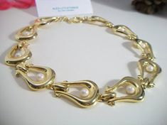 vintage chunky link and pearl necklace U link by ALEXLITTLETHINGS