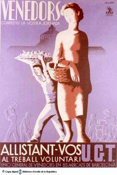 Spain - 1937. - GC - poster - autor: Cluselles - Venedors completeu la vostra jornada : allistant-vos al treball voluntari