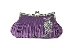 Purple Clutch, Bridal Clutch, Vintage Style Clutch, Evening Bag, Bridesmaids Clutch, Satin Wedding Clutch, Bridal Purse, Rhinestone Clutch