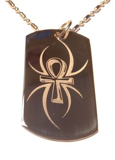 Spider Tattoo Ankh Egyptian Egypt Cross Logo Symbols - Military Dog Tag Luggage Tag Metal Chain Necklace >>> To view further, visit now : Dog tags for pets