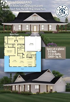 Exclusive Ranch Home Plan with Wrap-Around Porch Architectural Designs Exclusive Country Home Plan gives you beds, baths with square feet of living space. Barn House Plans, Ranch House Plans, Country House Plans, New House Plans, Dream House Plans, Small House Plans, Open Concept House Plans, Country Living, The Plan