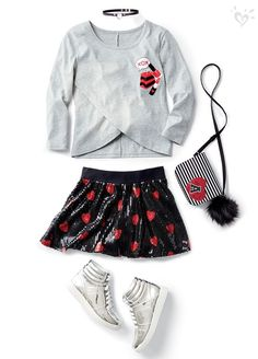 What's better than a sparkly, heart-covered skirt? A made-to-match top and purse! Finish the look with metallic sneaks! Girls Fashion Clothes, Tween Fashion, Little Girl Fashion, Look Fashion, Skirt Fashion, Fashion Outfits, Clothes For Women, Fashion Shirts, Mens Fashion