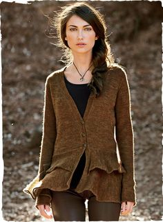 A pair of ruffled tiers lends a feminine peplum silhouette to this lightweight, 3-button cardigan. A lovely jacket alternative, knit of gossamer baby alpaca (70%) and wool (30%), with a v-neck and rolled-edge trim.
