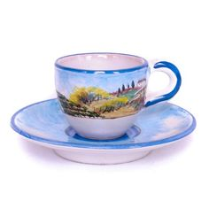 Estate Espresso Cup and Saucer from the Quattro Stagioni collection | Hand-painted depicting the Four Seasons of Tuscany | Shop more at http://www.giardinidisole.com/shop-tabletop-ceramics