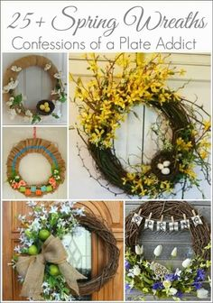 This is a beautiful wreath tutorial, with forsythia and birds nest. Front Door Decor, Wreaths For Front Door, Door Wreaths, Wreath Crafts, Diy Wreath, Wreath Making, Wreath Ideas, Forsythia Wreath, Grapevine Wreath