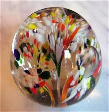 Vintage Blown Art Glass Paperweight / Three clusters of abstract flowers come from a center point and burst into flower, each with an oval shaped bubble, as a stamen. Small egg shaped with smoothly ground pontil /35
