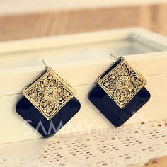 Pair of Graceful Retro Style Ruby Inlaid Suqare Shape Stud Earrings