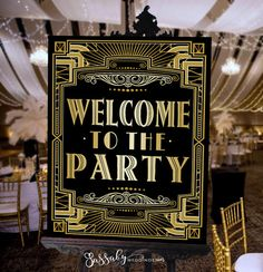 Welcome Gatsby Party Poster - INSTANT DOWNLOAD - Printable Party Wedding & Birthday Art Deco 1920s Sign - Sassaby Weddings