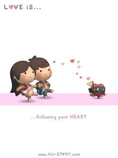 Love Is. Illustrations from HJ-Story Hj Story, Love Is Cartoon, Cute Love Cartoons, Couple Cartoon, Chibi Couple, Cute Love Stories, Love Story, Love Is Sweet, What Is Love