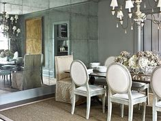 Atlanta Remodel - Traditional Home®... mirror squares on accent wall