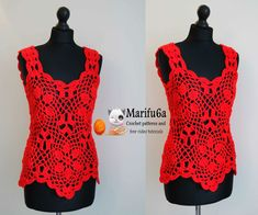 How to crochet red flower summer top pattern tutorial