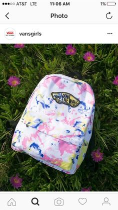 To dye for: The Tie Dye Realm Backpack is perfect for all your summer adventures. Note: matching hat on vans website! Cute Backpacks For School, Girl Backpacks, Leather Backpacks, Leather Bags, 6th Grade School Supplies, Vans Website, Vans Backpack, Backpack For Teens, Cute Bags