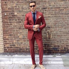 Rust Red Custom Made Mens Suit Two Pieces Wedding Tuxedos Slim Fit Groom Formal Suits(Jacket+Pants) Suit Up, Red Suit, Suit And Tie, Mens Fashion Blog, Mens Fashion Suits, Mens Suits, Fashion Styles, Men's Fashion, Gentleman Mode