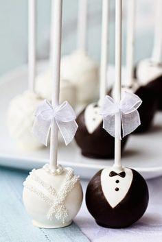 Bride & Groom Cake Pops. I LOVE this idea.