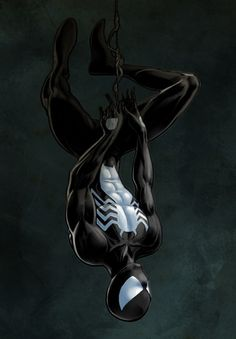 Spider-Man  From 1984 to 1988, Spider-Man wore a different costume than his original. Black with a white spider design, this new costume originated in the Secret Wars limited series, on an alien planet where Spider-Man participates in a battle between Earth's major superheroes and villains.