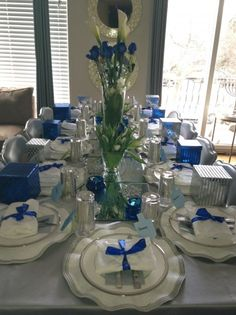 Another Beautiful #Hanukka Table Setting by A Jewish Hostess #tabledecor