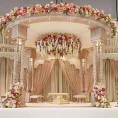 Top 24 Most Dazzling Wedding Stage Decoration That You Haven't Seen is part of Indian wedding decorations - This wedding season make your function a grand one with 24 dazzling wedding stage decoration ideas that you haven't seen in any other wedding Desi Wedding Decor, Wedding Hall Decorations, Marriage Decoration, Wedding Entrance, Wedding Mandap, Wedding Themes, Wedding Venues, Wedding Chairs, Wedding Ideas