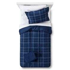double bed top view. Bedding Set Reversible With Towels Plaid Navy - Room Essentials™ : Target Double Bed Top View O