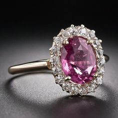 $4,250.00 -Antique Pink Sapphire and Diamond Ring - 30-1-4235 - Lang Antiques
