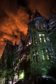 University of Chicago.  Closest thing to Hogwarts in the U.S.  Also, people there are 'wicked smaht.'