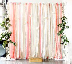 DIY fabric and ribbon backdrop