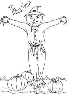 Scarecrow in pumpkin patch coloring page. Print this scarecrow in pumpkin patch coloring page out or color in online with our new coloring machine. Scarecrow Crafts, Halloween Scarecrow, Scarecrows, Pumpkin Coloring Pages, Halloween Coloring Pages, Pumpkin Farm, Best Pumpkin, Halloween Drawings, Bullet Journal Themes