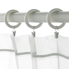 IKEA - PORTION, Curtain ring with clip and hook, You can hang your curtains with either combination - rings with clips or rings with hooks. Curtain Rings With Clips, Curtains With Rings, At Home Furniture Store, Modern Home Furniture, Home Renovation, Home Remodeling, Beach Cottage Decor, Cottage Ideas, White Stain