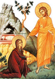 Spiritual Images, Religious Images, Religious Icons, Religious Art, Christian Images, Christian Art, Noli Me Tangere, Greek Icons, Marie Madeleine