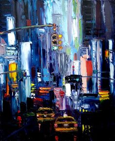 Faces of the City LX- 20x24 impasto abstract cityscape original oil painting by Aja