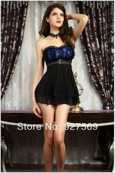Ladies Sleepwear Dress Corsets Women Exotic Sexy Apparel Folds Sexiest Lingerie Free Shipping
