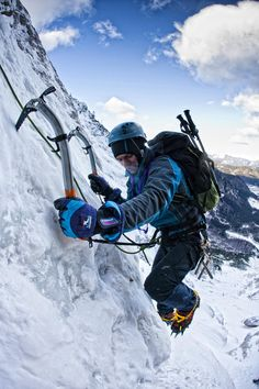 Nice with ice climbing but I would add a snowboard för use on the way down. Alpine Climbing, Mountain Climbing, Rock Climbing, Climbing Girl, Mountain Biking, Trekking, Ice Climber, Extreme Sports, Mountaineering