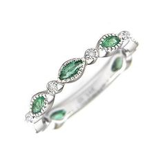 Marquise Cut Emerald & Diamond Ring