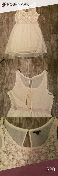 womens dress Cute Blush dress with embroidered flower bodice. The bottom of the dress is a chiffon over lay. There is a light frayed area in the back of the dress about a half inch long ( as shown in the picture) where the seam came apart a bit. It can be fixed easily.  I never wore the dress but I have had it in my closet for a while. American Eagle Outfitters Dresses Mini