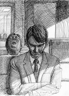 Men sleeping on Metro North RR drawing during my commute from CT into New York City —Karl Gude