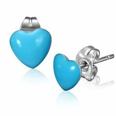 Stainless Steel Light Blue Love Heart Stud Earrings Pair  www.mystic-steel.com
