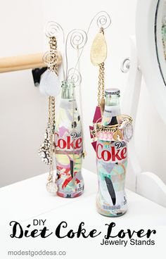 """How to Make a Diet Coke Lovers Jewelry Stand - a Diet Coke """"It's Mine"""" DIY - Modest Goddess"""