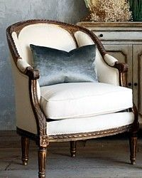 Vintage Shabby French Style Louis XVI Bergeres Pair-antique, gold, gilt, bergere, chair,medallion,chairs,furniture,upholstered