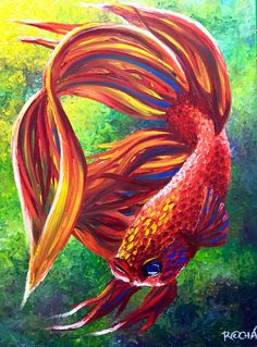 Betta Fish oil on canvas 100% finger painting by Marcelo Rochá