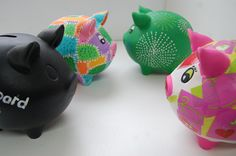 Paint your own piggy money boxes.  Our piggy banks can be painted, glazed, decopatched/decoupaged, stamped or decorated with chalkboard paint!