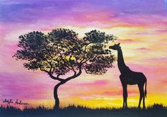 Giraffe Silhouette Sunset Acrylic Painting Tutorial by Angela Anderson on #Youtube #giraffe #sunset #painting #acryliconcanvas #africa